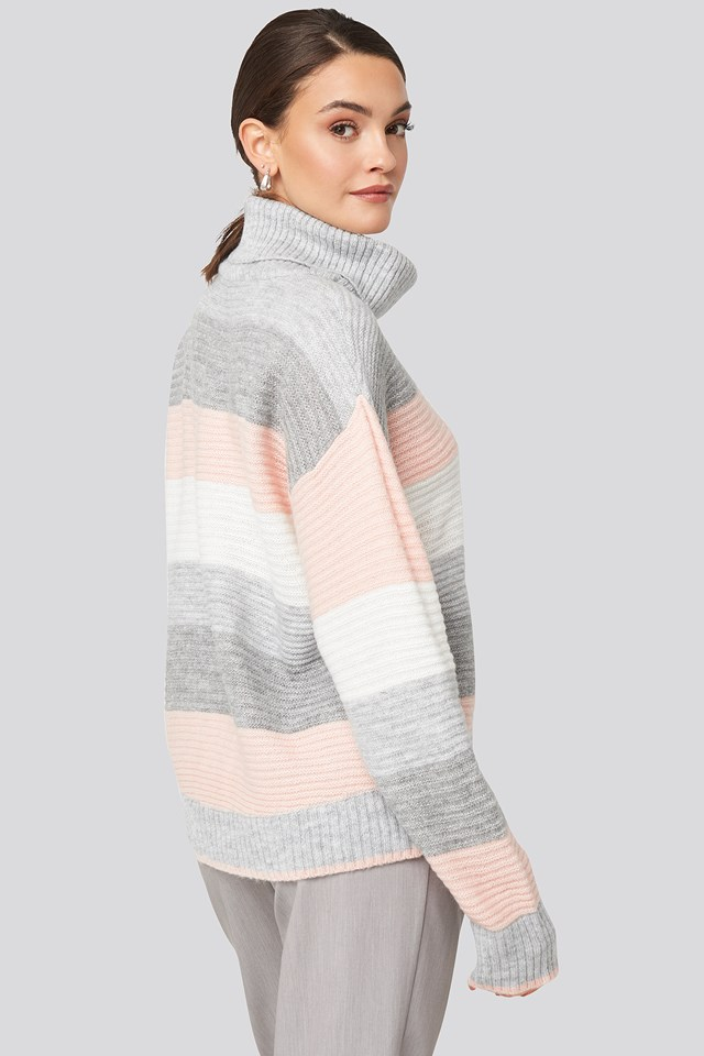 Stripe Knitted Sweater Gray