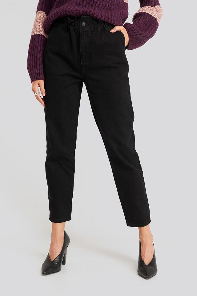 Super High Waist Mom Jeans Black