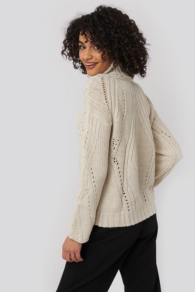 Turtleneck Sleeve Detailed Knitted Sweater Ecru