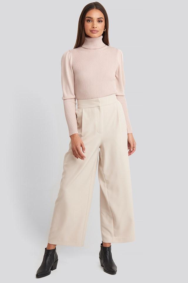 Turtleneck Sleeve Detailed Sweater Powder Pink
