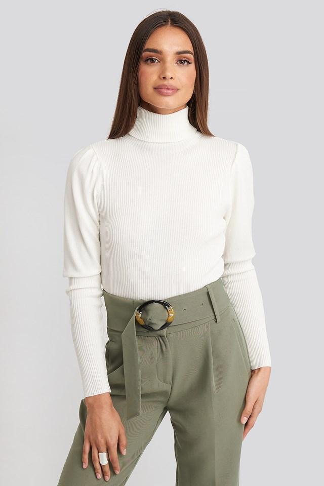 Turtleneck Sleeve Detailed Sweater Ecru
