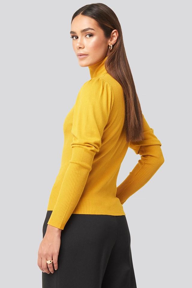 Turtleneck Sleeve Detailed Sweater Mustard