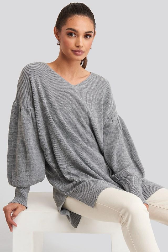 V-Neck Knitted Mini Dress Gray