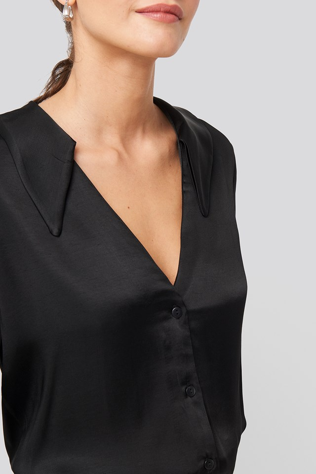 V-Neck Collar Detailed Shirt Black