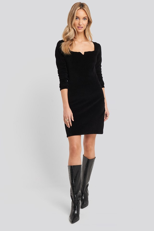 Velvet Knitted Dress Black