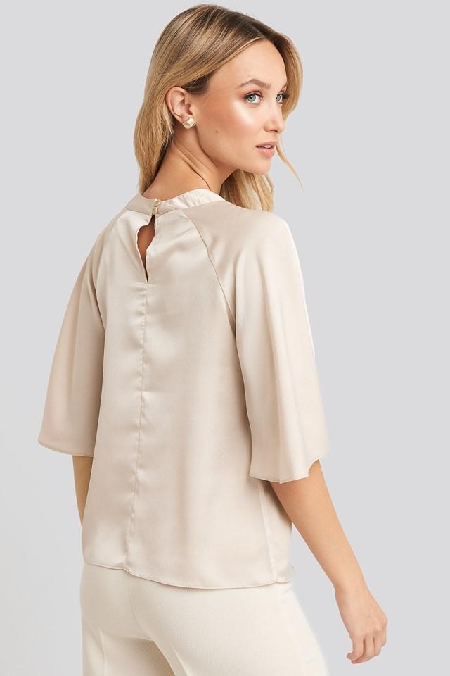 Wide Sleeve Blouse Beige