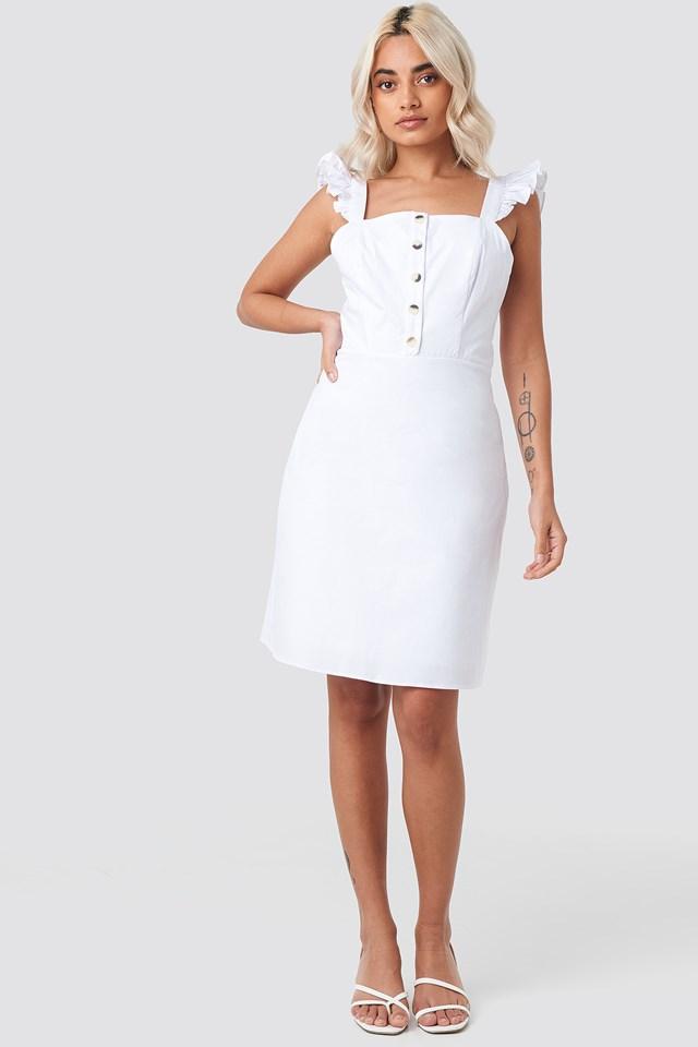 Wos Button Detailed Dress White