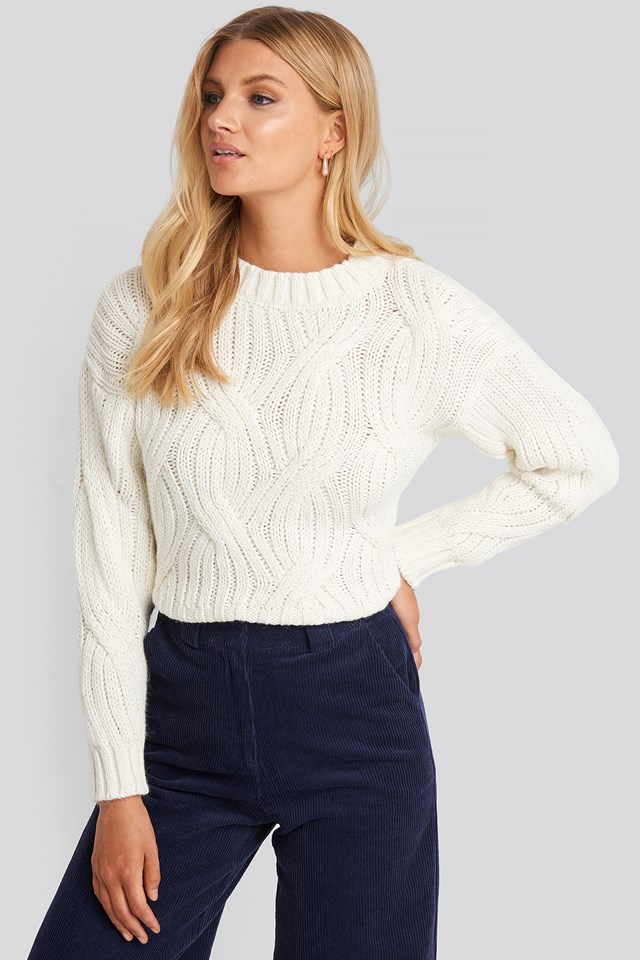 Yol Knit Detail Sweater Ecru