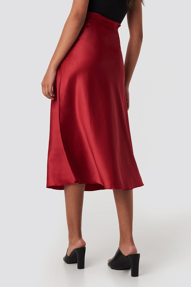 Yol Satin Skirt Burgundy