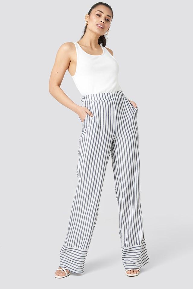 Yol Stripe Wide Pants Trendyol