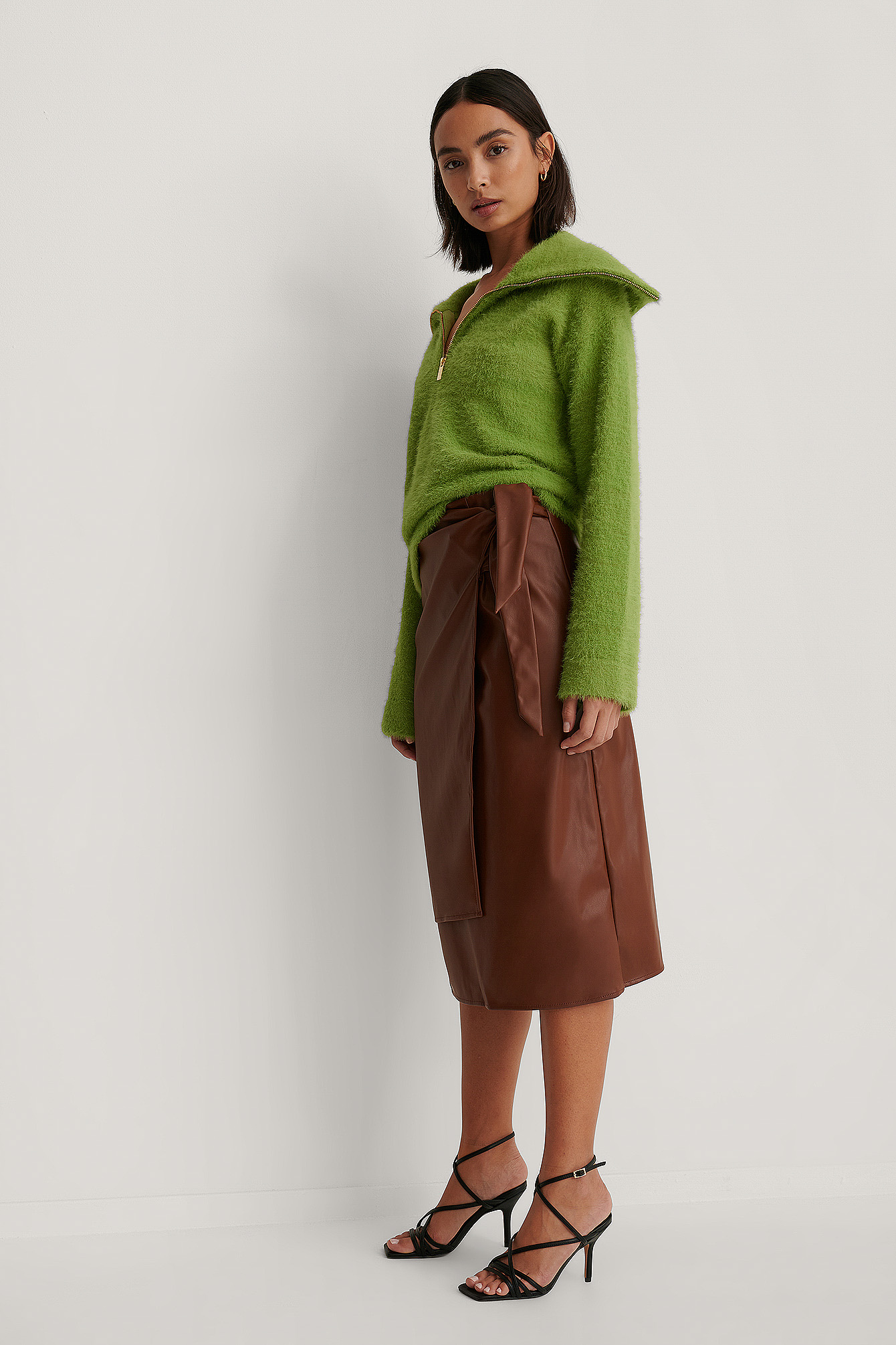 Brown Overlap Pencil PU Skirt