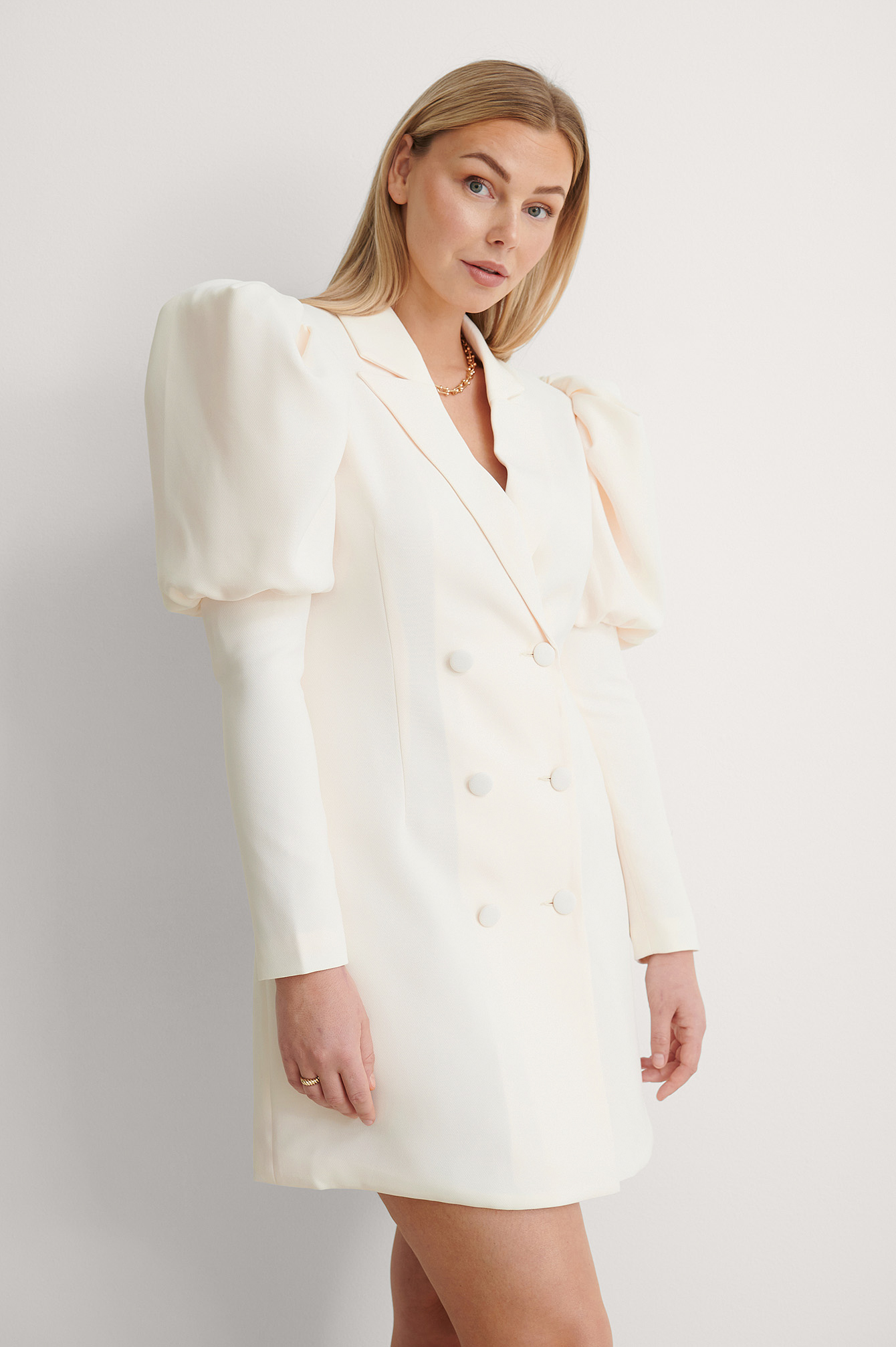 Light Beige Puffy Sleeve Blazer Dress