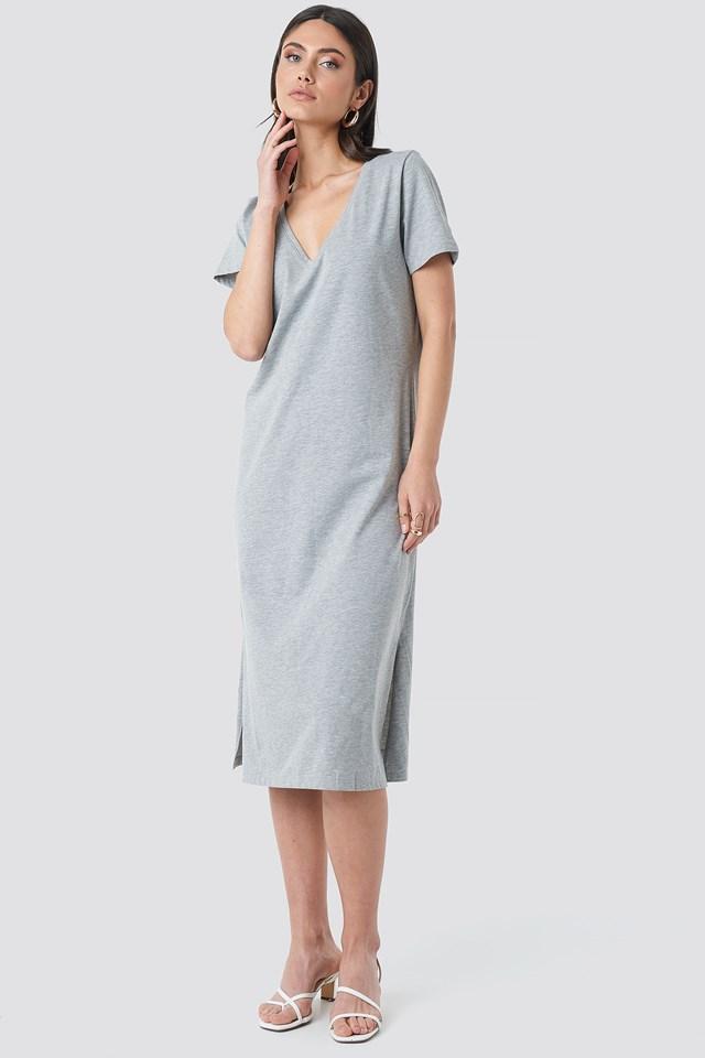 V-neck Jersey Dress Grey Melange