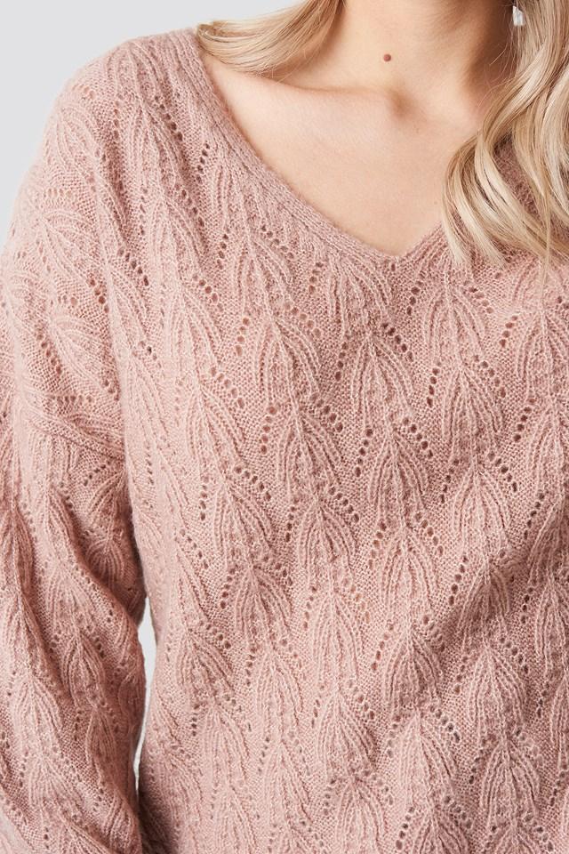 V-neck Pattern Knitted Sweater Light Pink