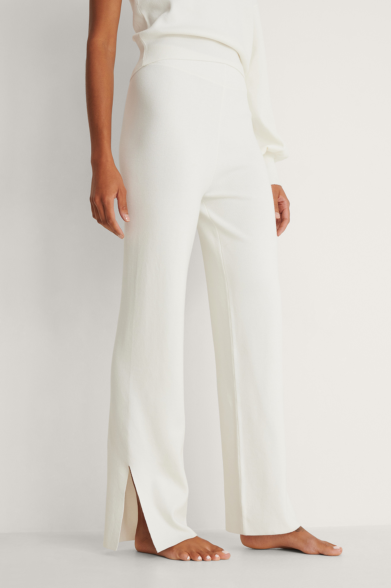 White Wide Knitted Slit Trousers