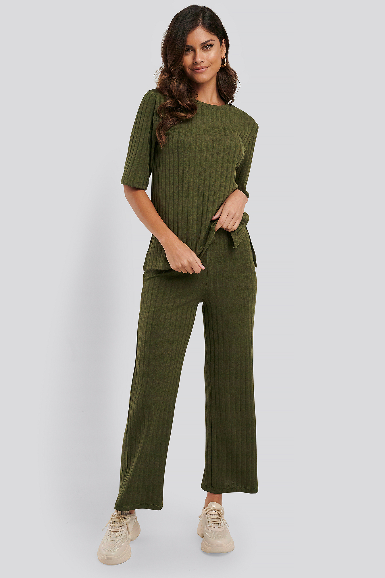 Army Green Wide Rib Loose Fit Pants