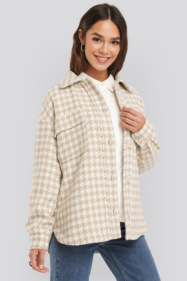 Wool Blend Dogtooth Jacket Beige/White