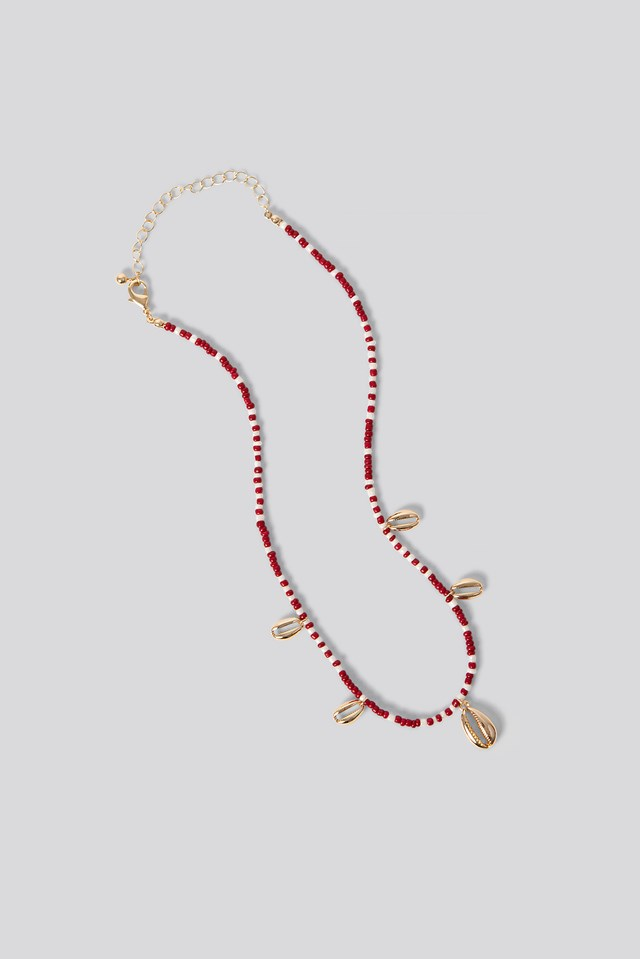 Small Beaded Shell Necklace Red