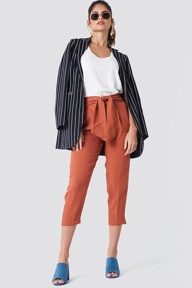 Striped Blazer & Tie Waist Pants