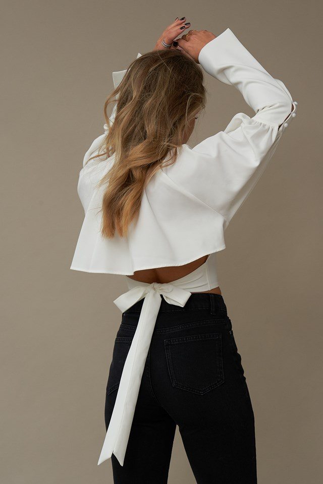 Balloon Sleeve Back Detail Top White
