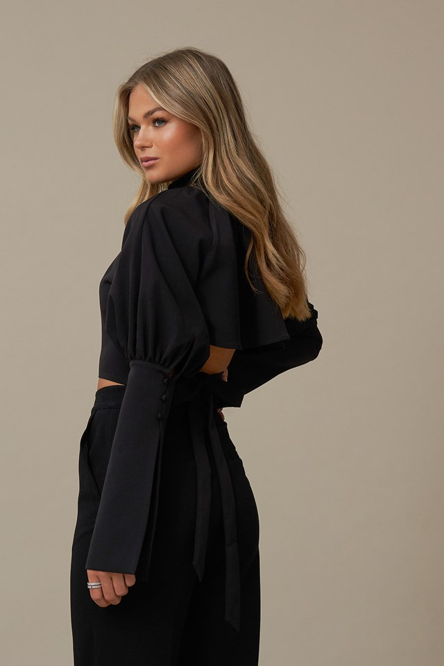Balloon Sleeve Back Detail Top Black