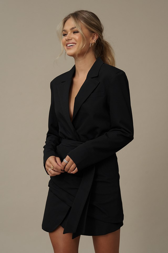 Belted Blazer Dress Black