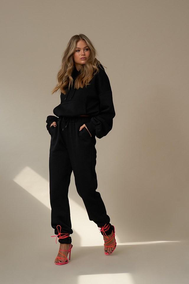 Elastic Waist Sweatpants Black