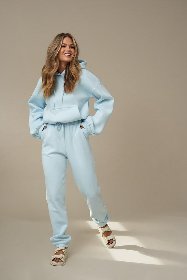 Elastic Waist Sweatpants Light Blue