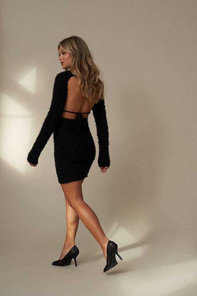 Open Back Detail Dress Black