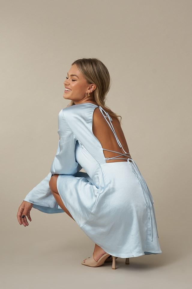 Open Back Flowy Dress Light Blue