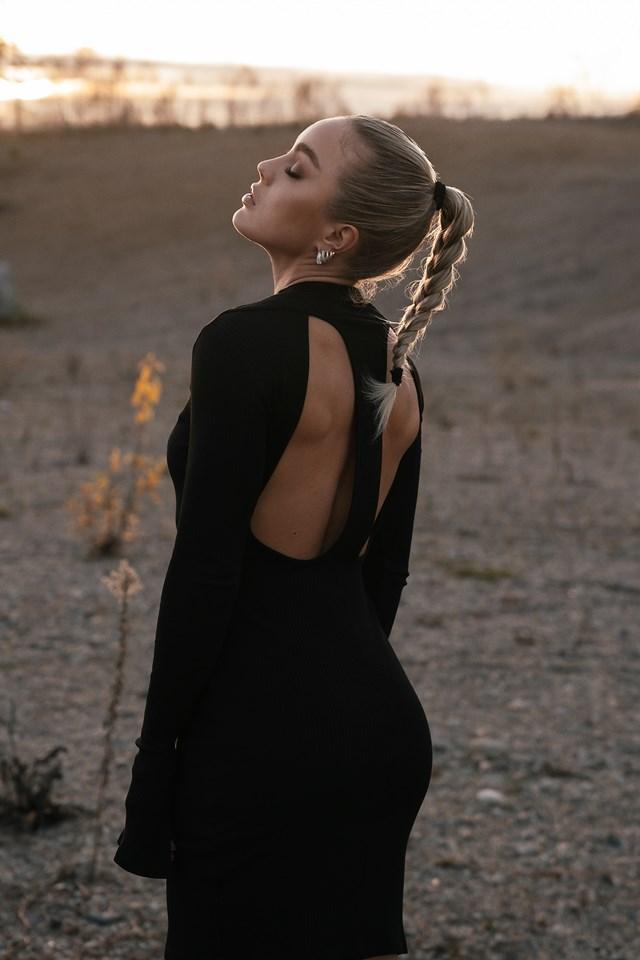 Cut Out Ribbed Slit Dress Black