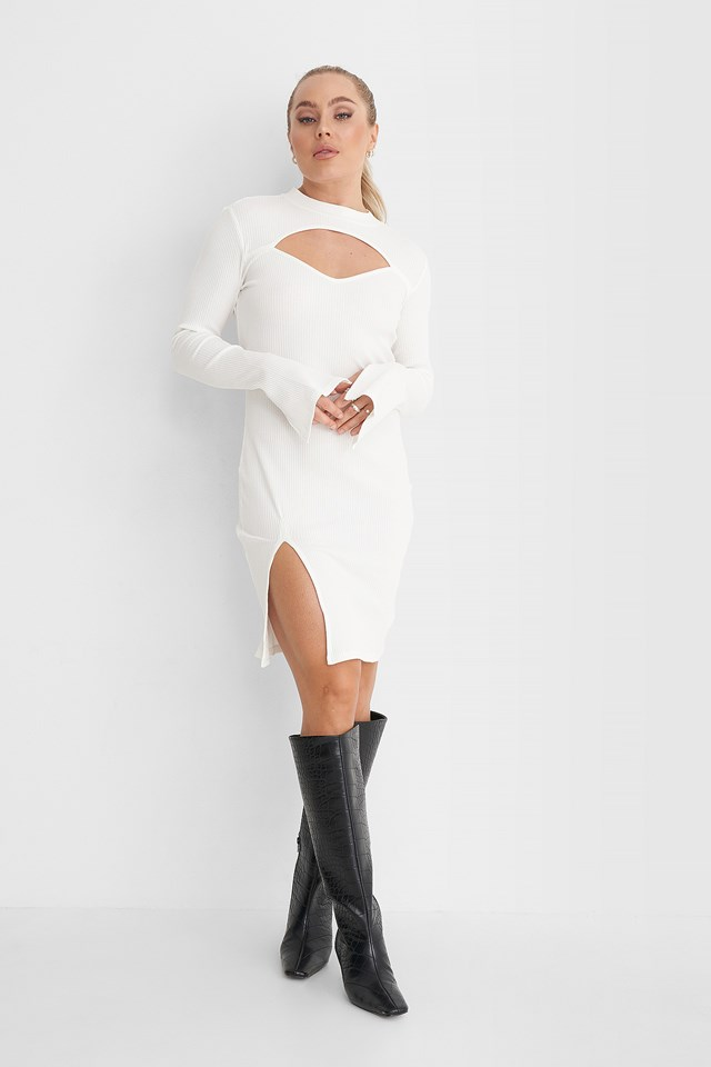 Cut Out Ribbed Slit Dress Off White