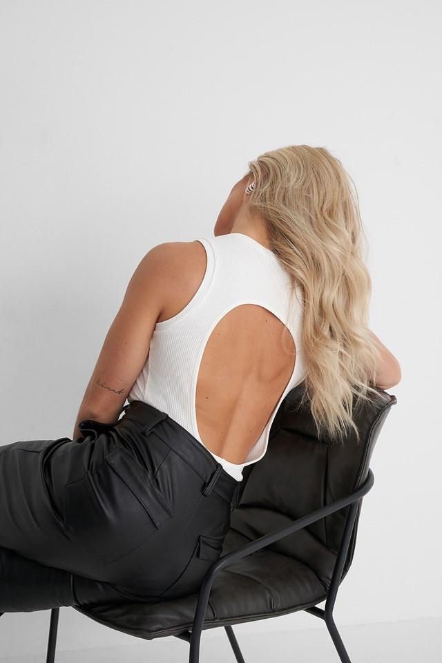 Open Back Ribbed Singlet White