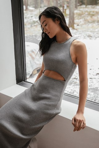 Grey Organic Cut Out Knitted Dress