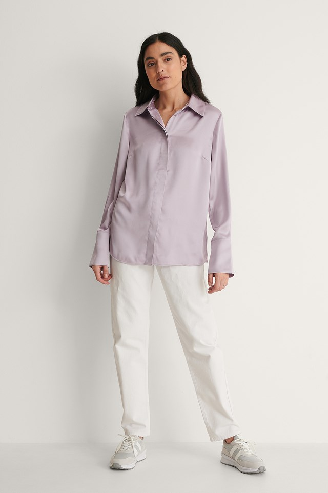Wide Cuff Satin Blouse