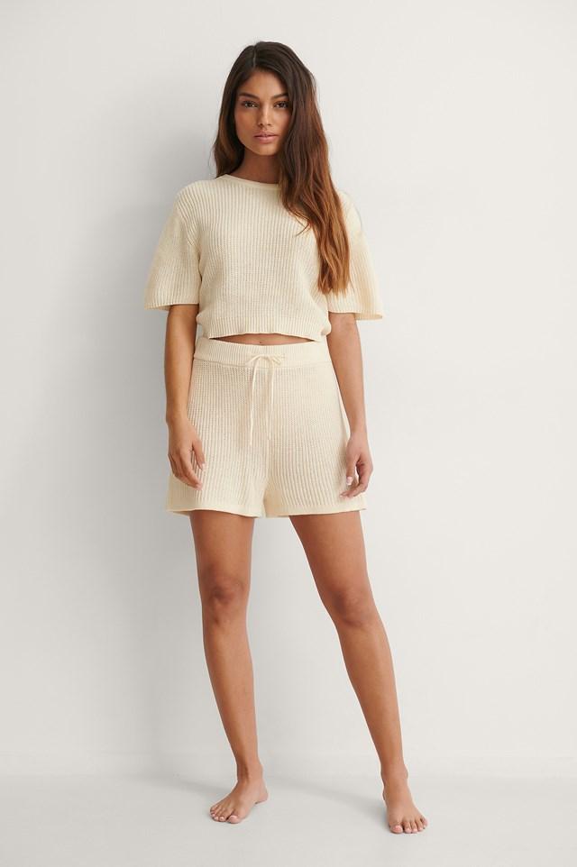 Linen Blend Knitted Shorts