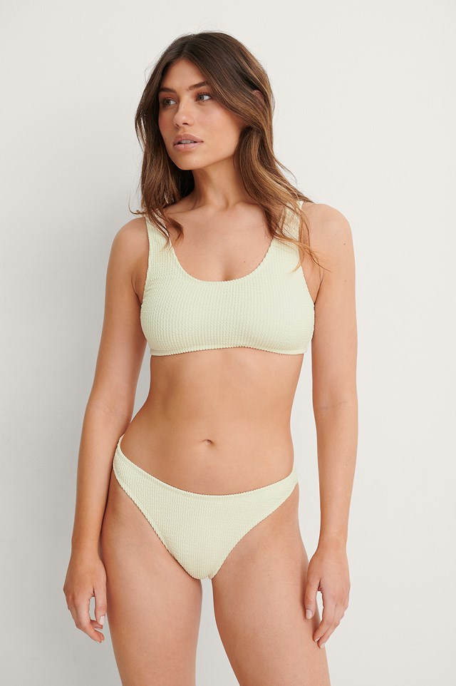 Offwhite Smocked High Cut Bikini Panty