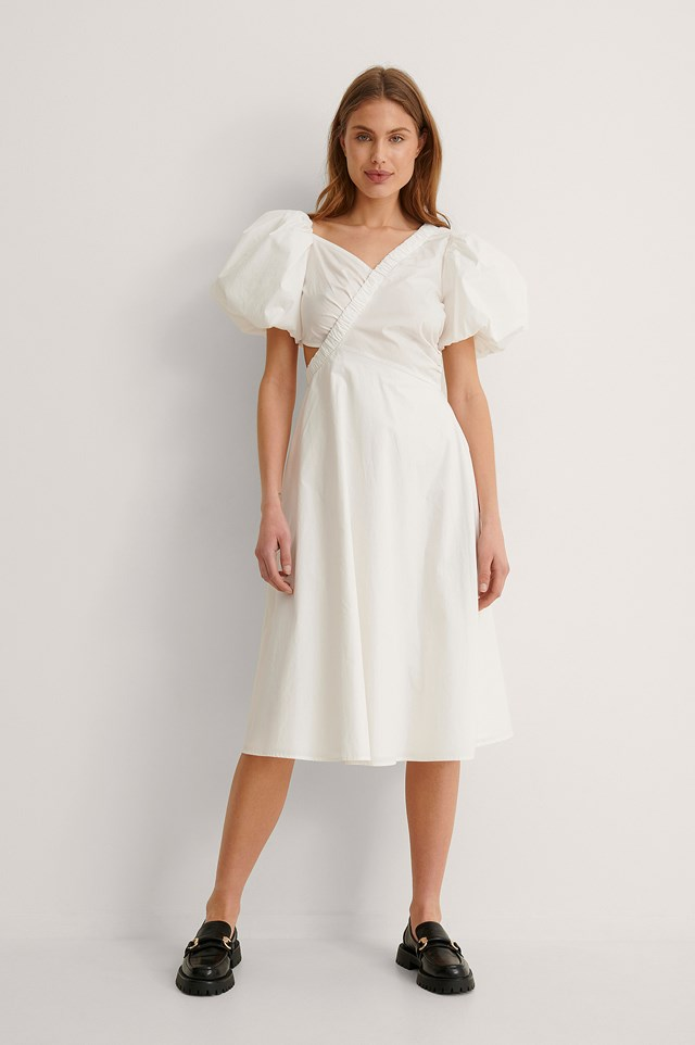 White Asymmetric Short Puff Sleeve Midi Dress