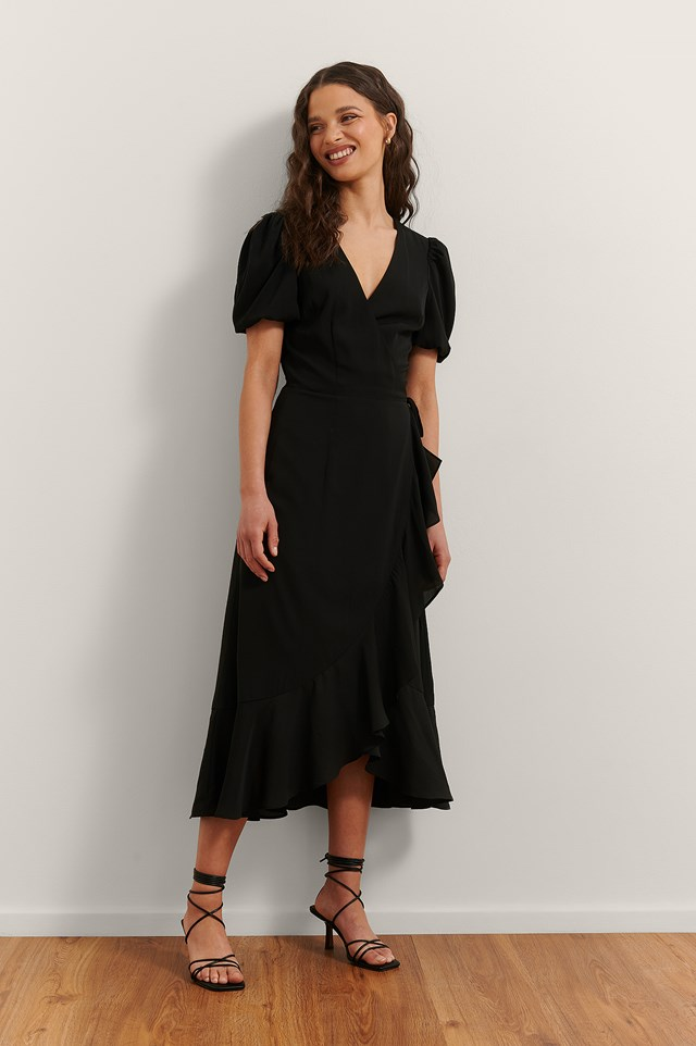 Overlap Flounce Midi Dress