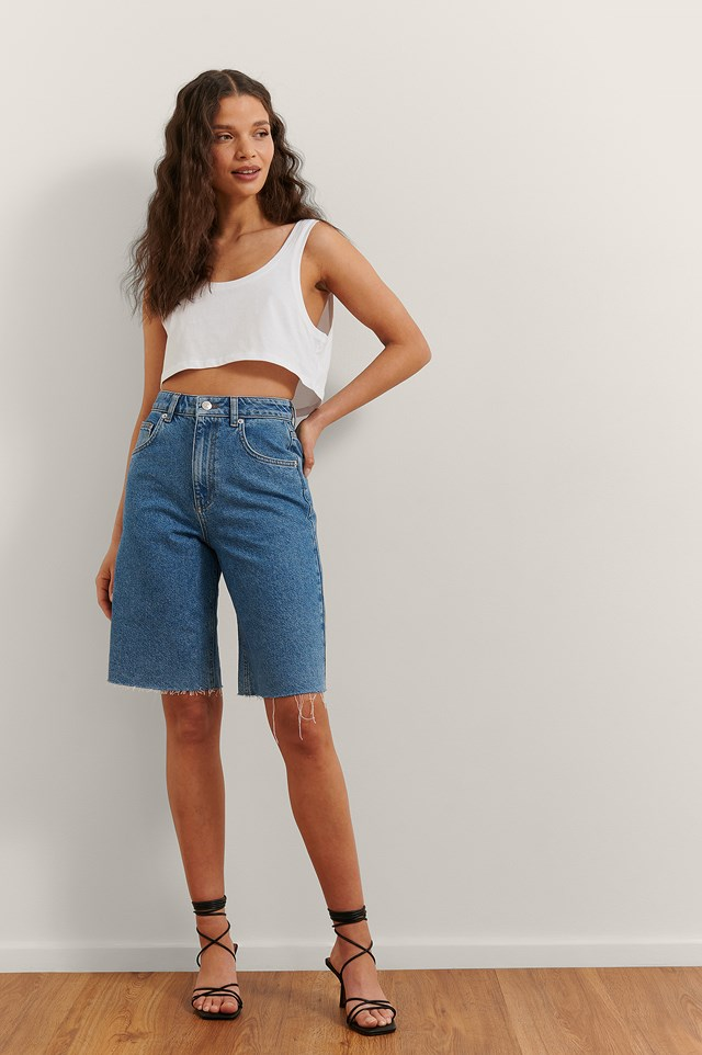 Mid Length Denim Shorts