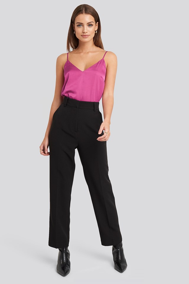 V-Neck Satin Cami Top Pink Outfit