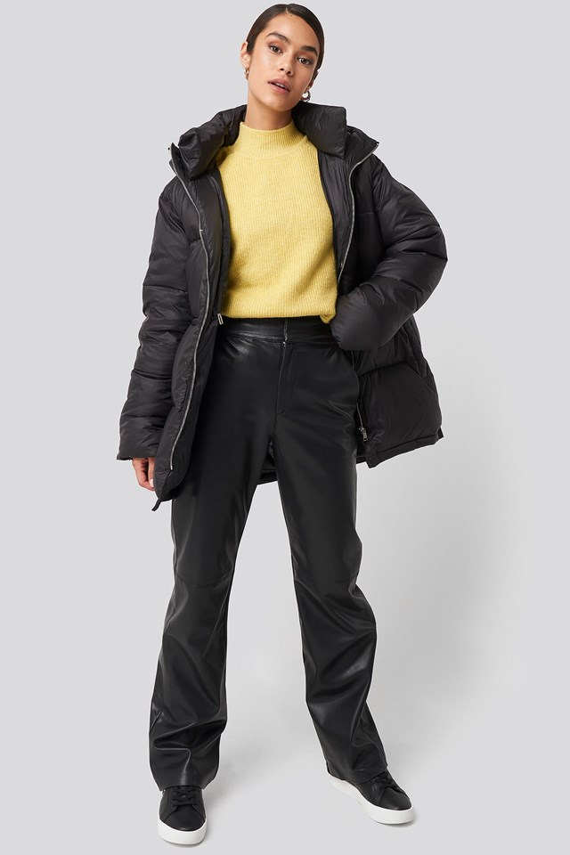 Drawstring Padded Jacket Black Outfit
