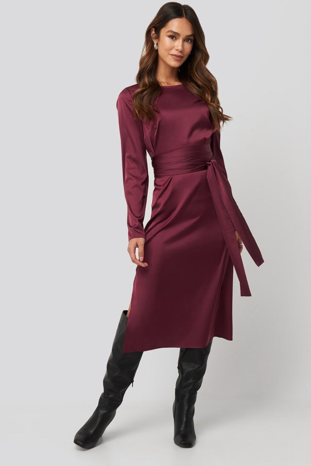 Belted Satin Midi Dress Look