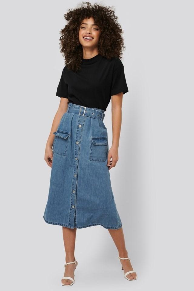 Belted A-Line Denim Skirt