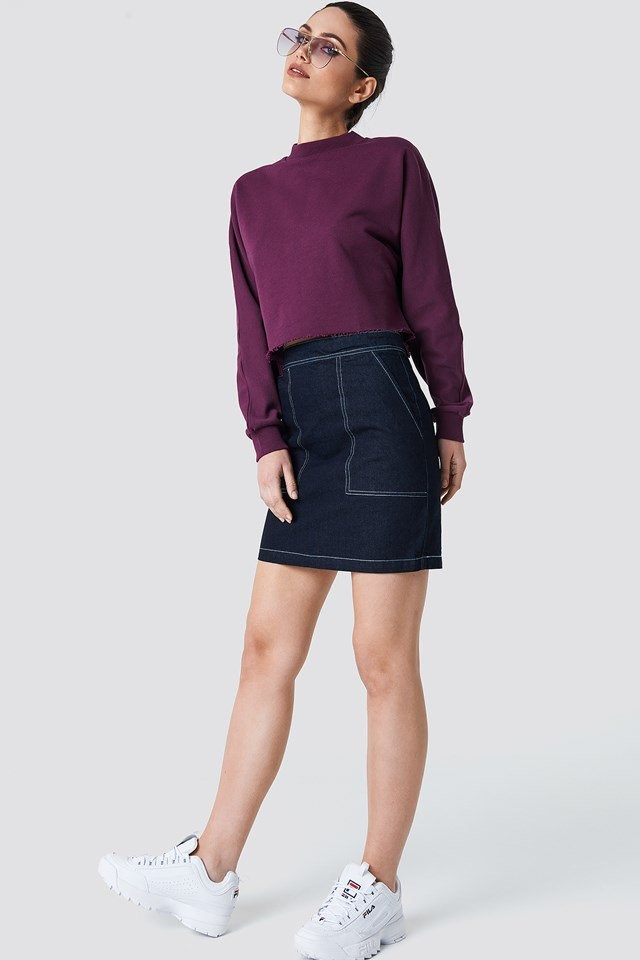 Sweatshirt with Denim Skirt