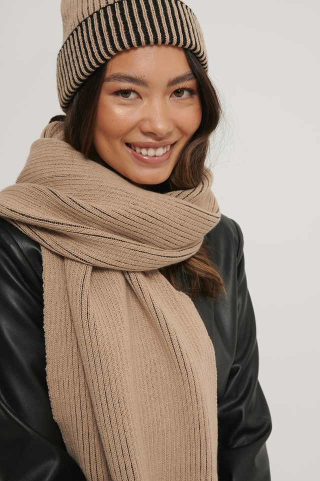Two Toned Ribbed Scarf beige/Black