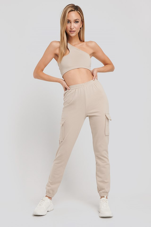 Jenna Cargo Sweatpants Stone