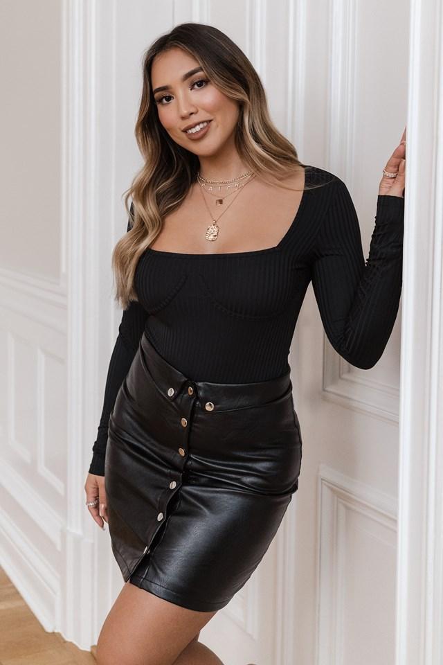 Button Up Pu Skirt Black