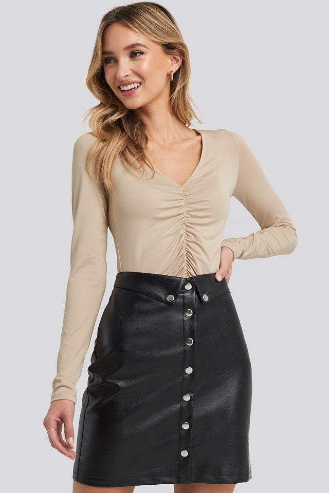 Ruched Long Sleeve Top Taupe
