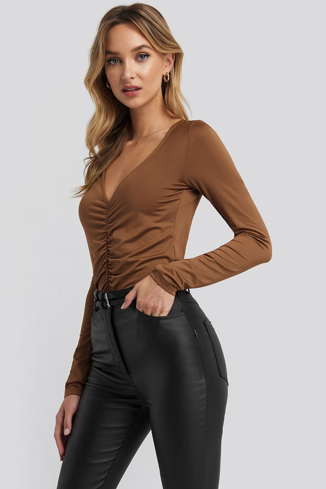 Ruched Long Sleeve Top Chocolate